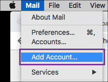 In Mail Menu, click Add Account