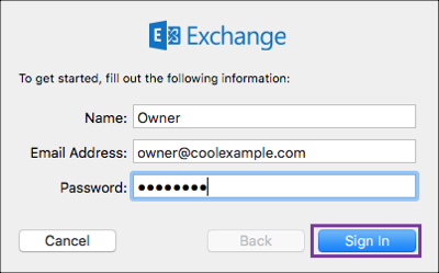 Enter name, email address, password and click Sign In
