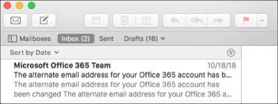 Inbox displays in Apple Mail