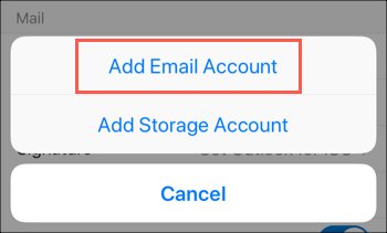 Tap Add Email Account option