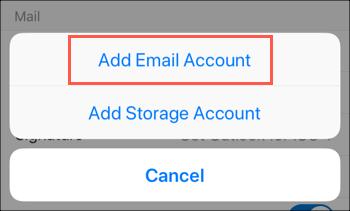 Tik op de optie E-mailaccount toevoegen
