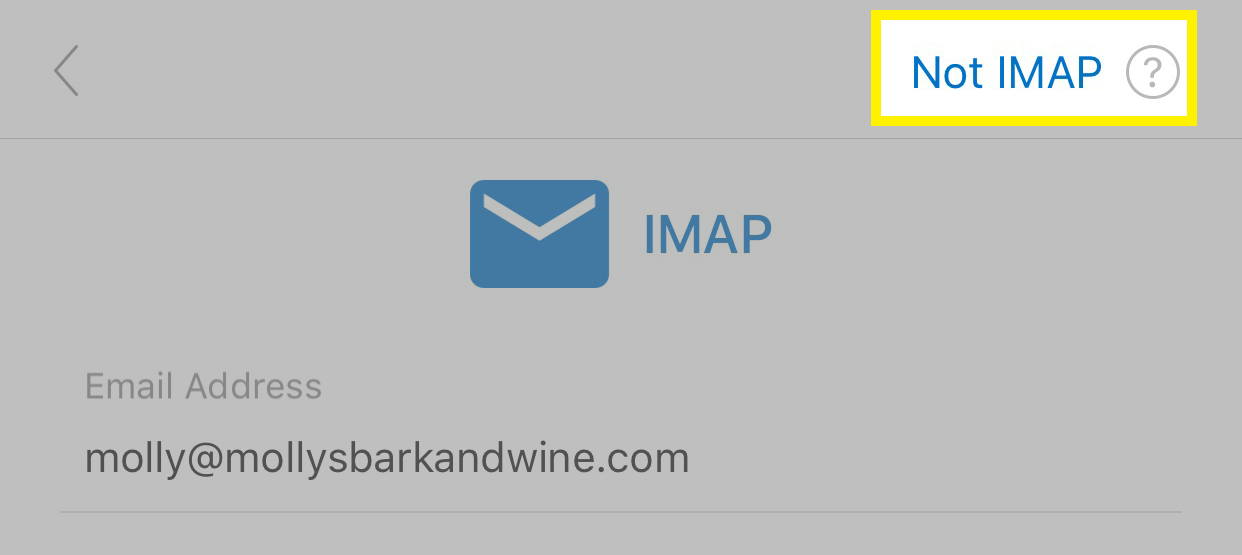 Tap Not an IMAP account