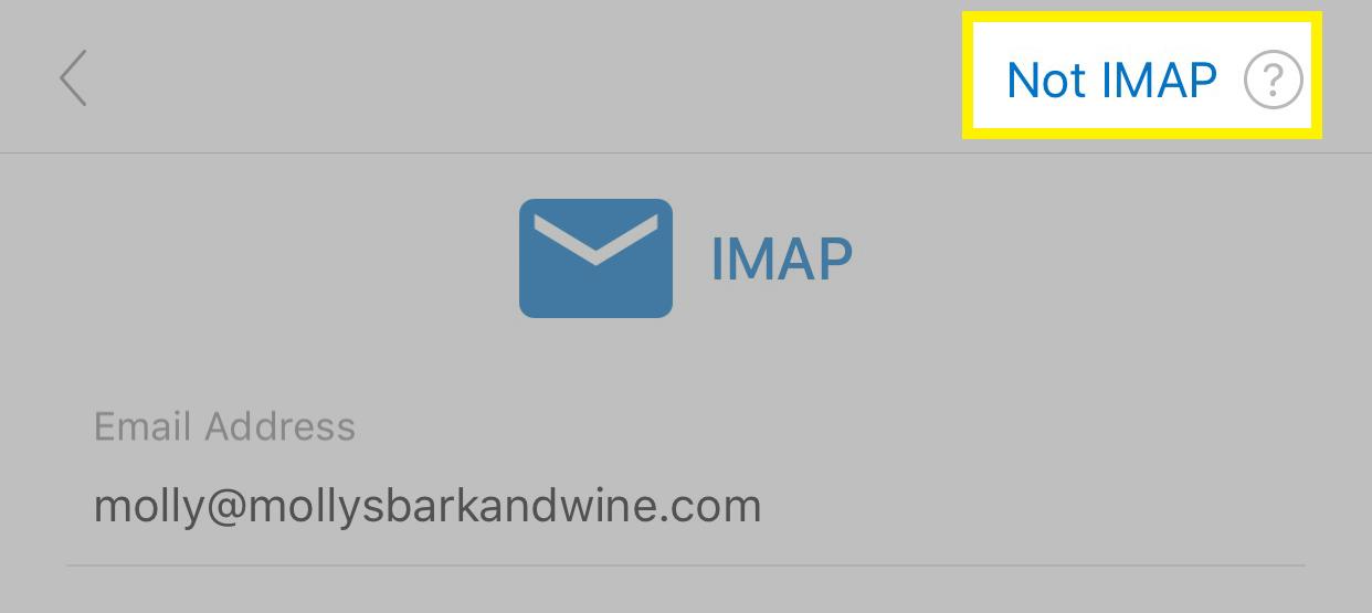 點選不要使用 IMAP 帳戶