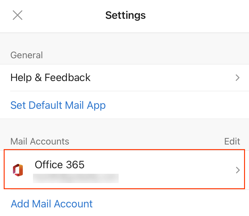 New Office 365 email account displays in Settings