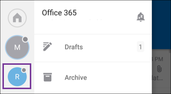New account displays in Outlook