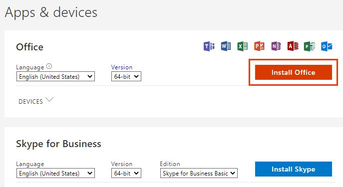 Кнопка Install Office (Установить Microsoft365)