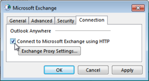 Connection: Select the option, click Exchange Proxy Settings