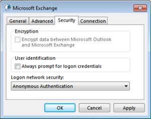 Security: Deselect the options, choose Anonymous Authentication