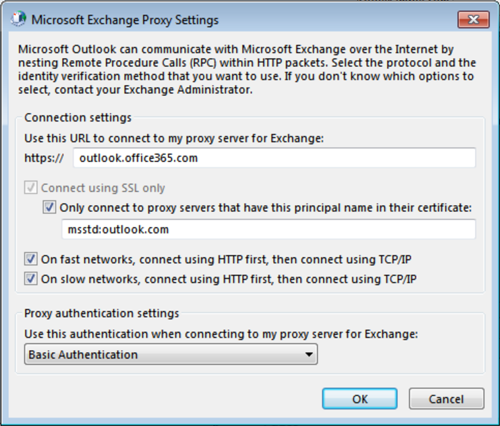 Enter Exchange Proxy Settings