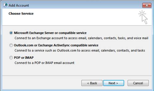 Select Microsoft Exchange Server or compatible service, click Next