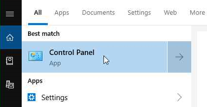 Click Start menu, select Control Panel