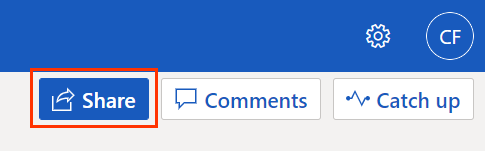 Share button on Word