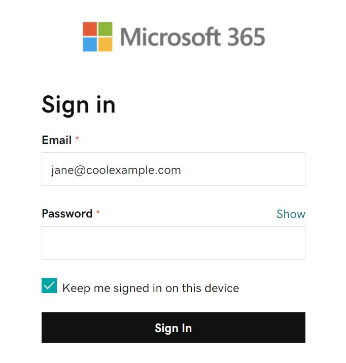 Inserisci la password dell'email e accedi