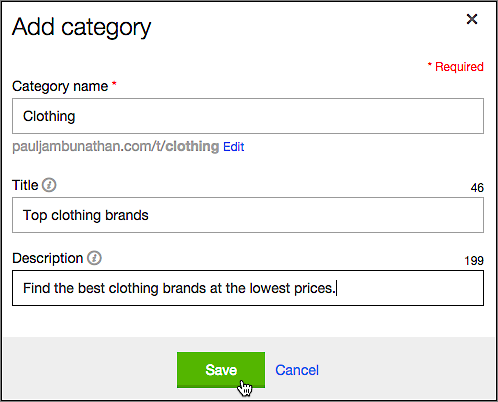 Fill in the Add category fields to help search engines direct customers to your site