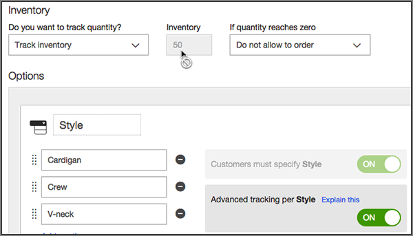 Inventory field locked if product  has options