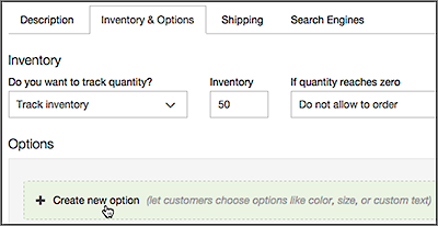 Enter quantity in Inventory and click Create Options tab