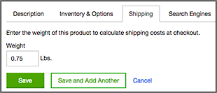 Enter product weight in Shipping tab