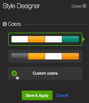 Click the plus to choose Custom colors
