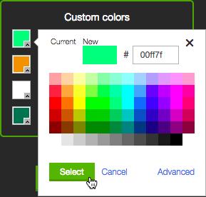 Click Advanced for more colors.