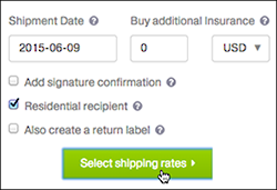 Choose shipping date and click Select shipping rates