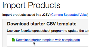 Click Download starter template with sample data.