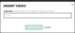 Enter URL in Insert Video field