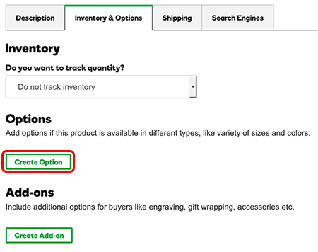 In the Inventory & Options tab, click Create Option