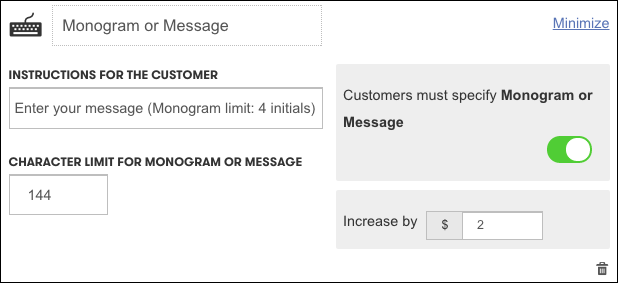 Customize options for the message