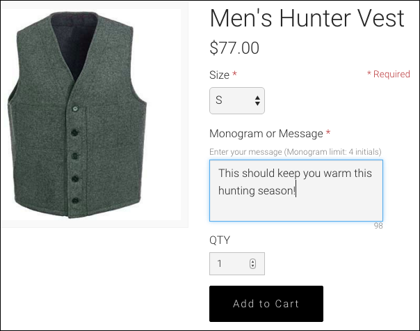 View your store to see how message option appears to customers