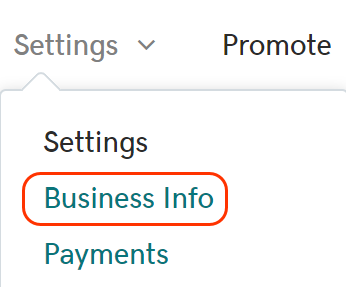 In Premium Online Store, go to Settings then Business Info