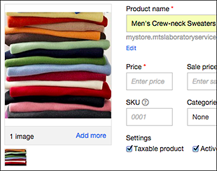 Use Add Image button to display  product photo