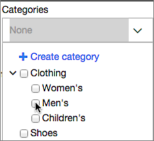 Choose from Categories menu or create new category