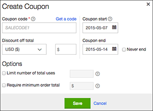 Fill in Create Coupon fields