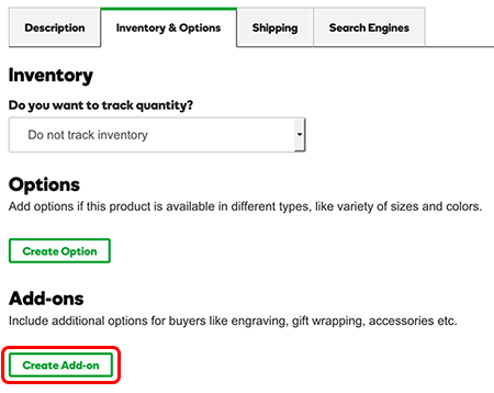 In the Inventory & Options tab, click Create add-on