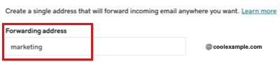 Enter forwarding address name