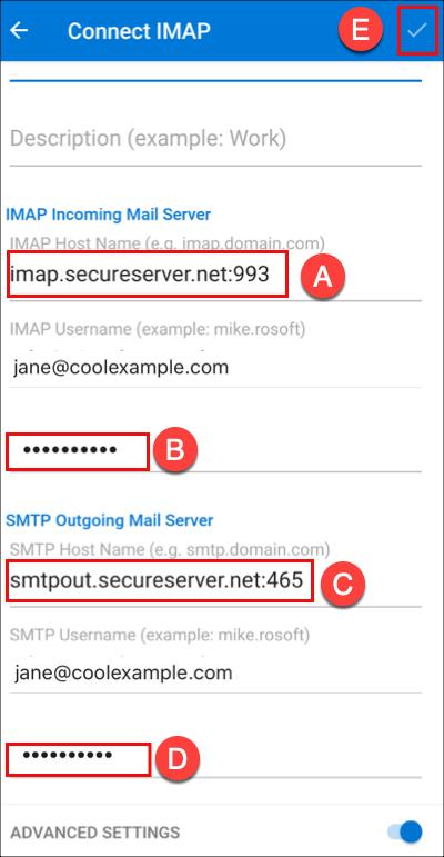 Inserisci l'indirizzo e la password per il server.