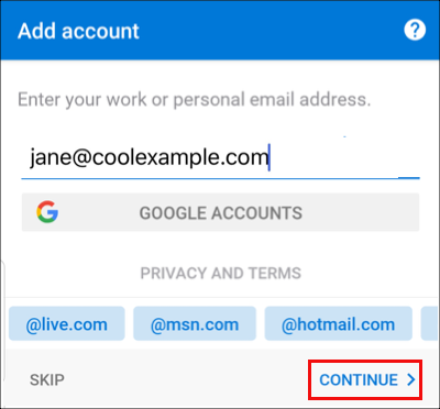 Inserisci l'indirizzo email e tocca Continua.