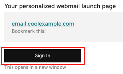 Sign in to launch personal webmail
