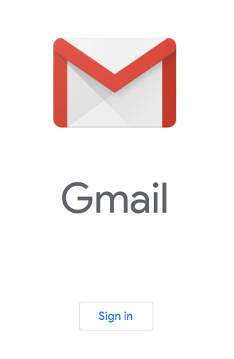 Gmail red and white envelope icon above sign in button