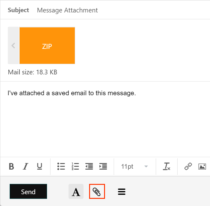 Paperclip icon and message attachment