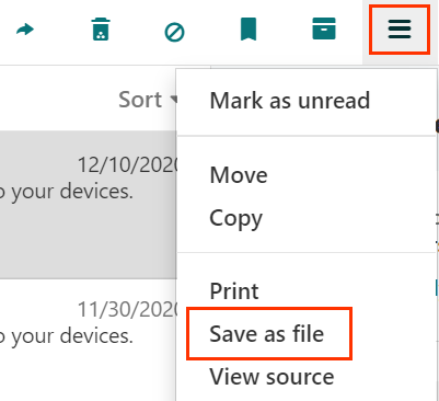 More actions opened to select Save as file