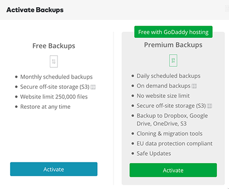 Activate Backups