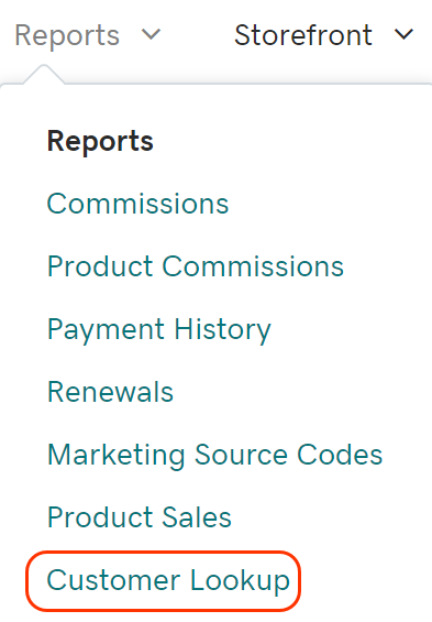 From Reports, click Customer Lookup