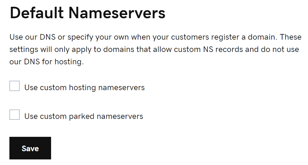 Select nameserver option