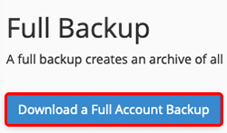click download a full account backup