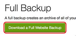 click download a full website backup
