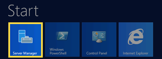 Windows 2012 Start menu with Server Manager highlighted