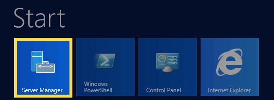 Menu Iniciar do Windows 2012 com o Server Manager realçado