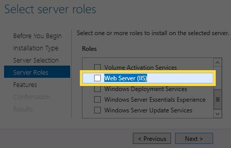 Serverrolleside med «Web -server (IIS)» valgt