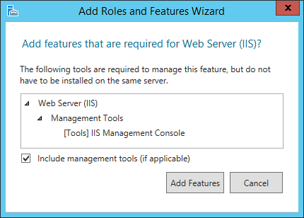 Add Roles and Features Wizard window